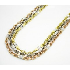 14k Gold Diamond Cut Circle Link Chain 16-24 Inch 2mm