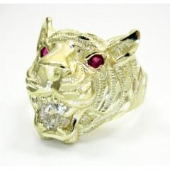 10k Yellow Gold Tiger Head Ring