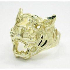 10k Yellow Gold Tiger Head Ring