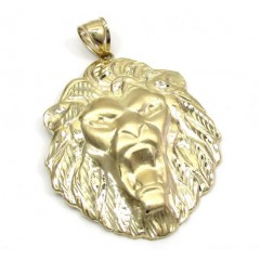 10k Yellow Gold Diamond Cut Lion Head Pendant