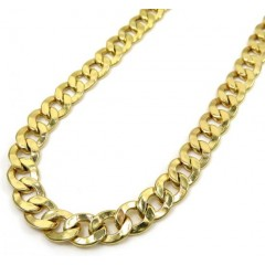 10k Yellow Gold Hollow Cuban Chain 24-30 Inch 6.50mm