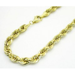 10k Yellow Gold Hollow Rope Unisex Bracelet 8 Inch 4mm