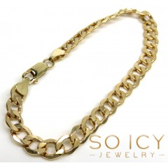 10k Yellow Gold Thick Cuban Bracelet 8.50 Inch 6.8mm