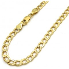 10k Yellow Gold Diamond Cut Cuban Bracelet 7 Inch 3.5mm