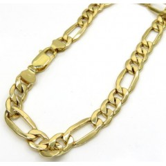 10k Yellow Gold Thick Figaro Bracelet 8 Inch 7.5mm