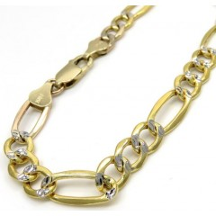 10k Yellow Gold Thick Diamond Cut Figaro Bracelet 9 Inch 6.5mm