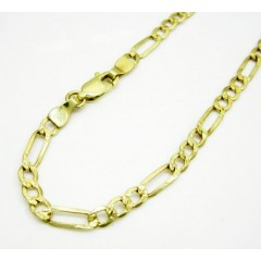 10k Yellow Gold Diamond Cut Figaro Bracelet 8 Inch 3.7mm