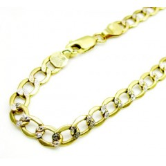 10k Yellow Gold Two Tone Diamond Cut Cuban Bracelet 8 Inch 4.3mm