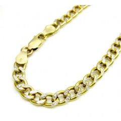 10k Yellow Gold Two Tone Diamond Cut Cuban Bracelet 8 Inch 4.5mm