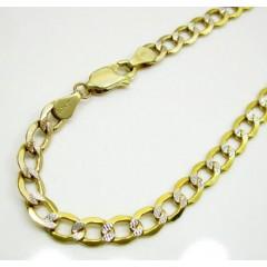 10k Yellow Gold Two Tone Diamond Cut Cuban Bracelet 8.50 Inch 5mm