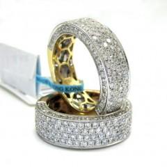 18k Gold Four Diamond Row Wedding Band Ring 2.13ct