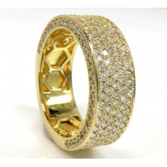 18k Gold Five Diamond Row Wedding Band Ring 2.45ct
