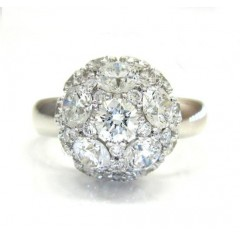 18k Ladies White Gold Diamond Sphere Ring 3.83ct