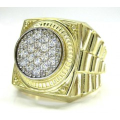 10k Yellow Gold Presidential Style Cz Ring 0.57ct
