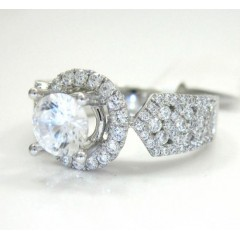 18k White Gold Round Diamond Halo Semi Mount Ring 0.95ct