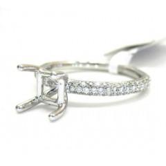 18k White Gold Round Diamond Skinny Band Semi Mount Ring 0.68ct