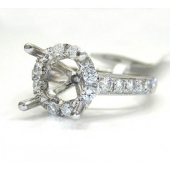 18k White Gold Round Diamond Halo Semi Mount Ring 0.73ct