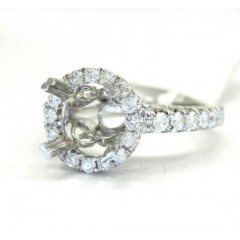 18k White Gold Round Diamond Halo Semi Mount Ring 0.80ct