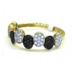 Ladies 14k Yellow Gold Black & White Diamond Piano Oval Shaped Ring 0.37ct