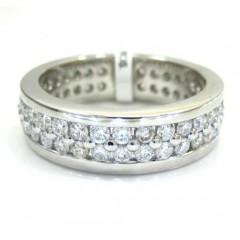 Ladies 14k White Gold Two Row Diamond Eternity Wedding Band Ring 1.63ct