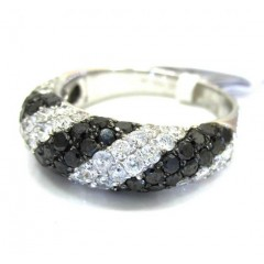 Ladies 14k White Gold Black & White Diamond Zebra Cocktail Ring 2.25ct