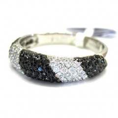 Ladies 14k White Gold Black & White Diamond Zebra Cocktail Ring 0.70ct