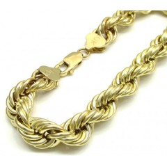 10K Yellow Gold Hollow Rope XL Bracelet 8 Inch 10mm