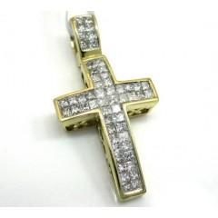 14k Yellow Gold Mini Diamond Cross 0.50ct