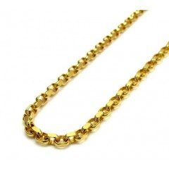 14k Yellow Gold Round Cable Link Chain 18-22 Inch 2.7mm