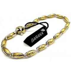 Mens Baraka 18k Yellow & White Gold Diamond Egg Shaped Bracelet 0.02ct