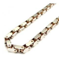 Mens Baraka 18k Rose & White Gold Diamond Cylinder Chain 0.02ct