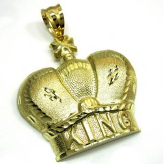 10k Gold Diamond Cut Xl Kings Crown Pendant