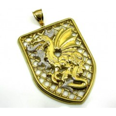 10k Gold Two Tone Fire Breathing Dragon Pendant