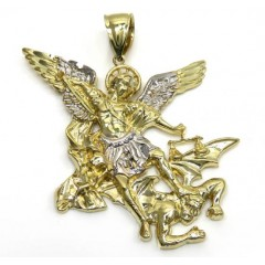 10k Yellow Gold Angel Vs Demon Large Pendant