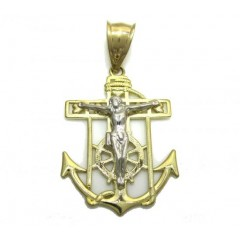 10k Yellow Gold Two Tone Anchor Jesus Pendant