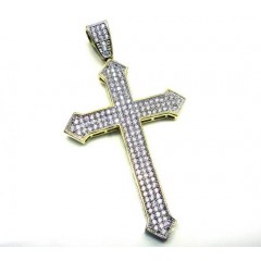 10k Yellow Gold Cz Diamond Cross Pendant
