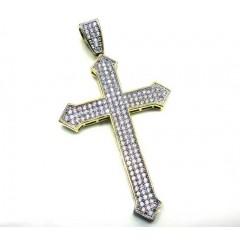 10k Yellow Gold Cz Diamond Cross Pendant