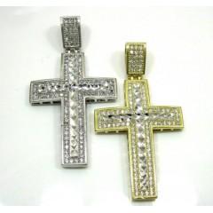10k Yellow Gold Two Tone Jesus Cross Pendant Cz