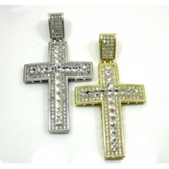 10k Yellow Gold Two Tone Jesus Cross Pendant Cz