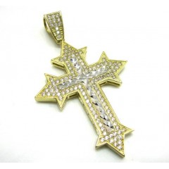 10k Yellow Gold Two Tone Cross Pendant