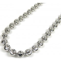 10k White Gold Moon Cut Bead Link Chain 24-36 Inch 4mm