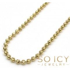 10k Yellow Or White Gold Moon Cut Bead Link Chain 22-30 Inch 2mm