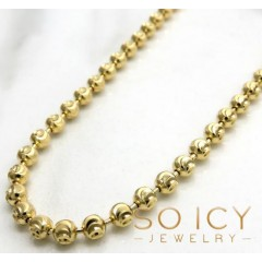 10k Yellow Gold Moon Cut Bead Link Chain 24-36 Inch 3mm