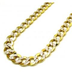 10k Yellow Gold Thick Diamond Cut Cuban Chain 24-26 Inch 9.5mm