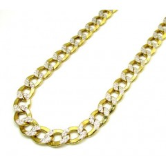 10k Yellow Gold Thick Diamond Cut Cuban Chain 22-24 Inch 7.6mm