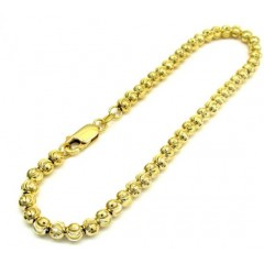 10k Yellow Gold Moon Cut Bead Link Bracelet 8 Inch 4mm