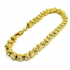 10k Yellow Gold Moon Cut Bead Link Bracelet 8 Inch 6mm