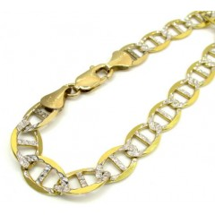 10k Yellow Gold Thick Diamond Cut Mariner Bracelet 9 Inch 9.2mm