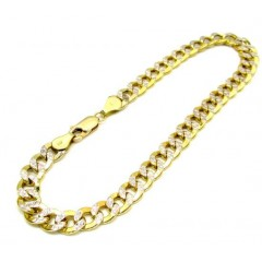 10k Yellow Gold Diamond Cut Cuban Bracelet 8.5 Inch 6.3mm