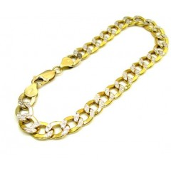 10k Yellow Gold Diamond Cut Cuban Bracelet 8.5 Inch 7.6mm